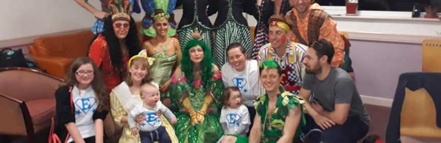 Edie May with the cast of the Floral Pavillion's Peter Pan
