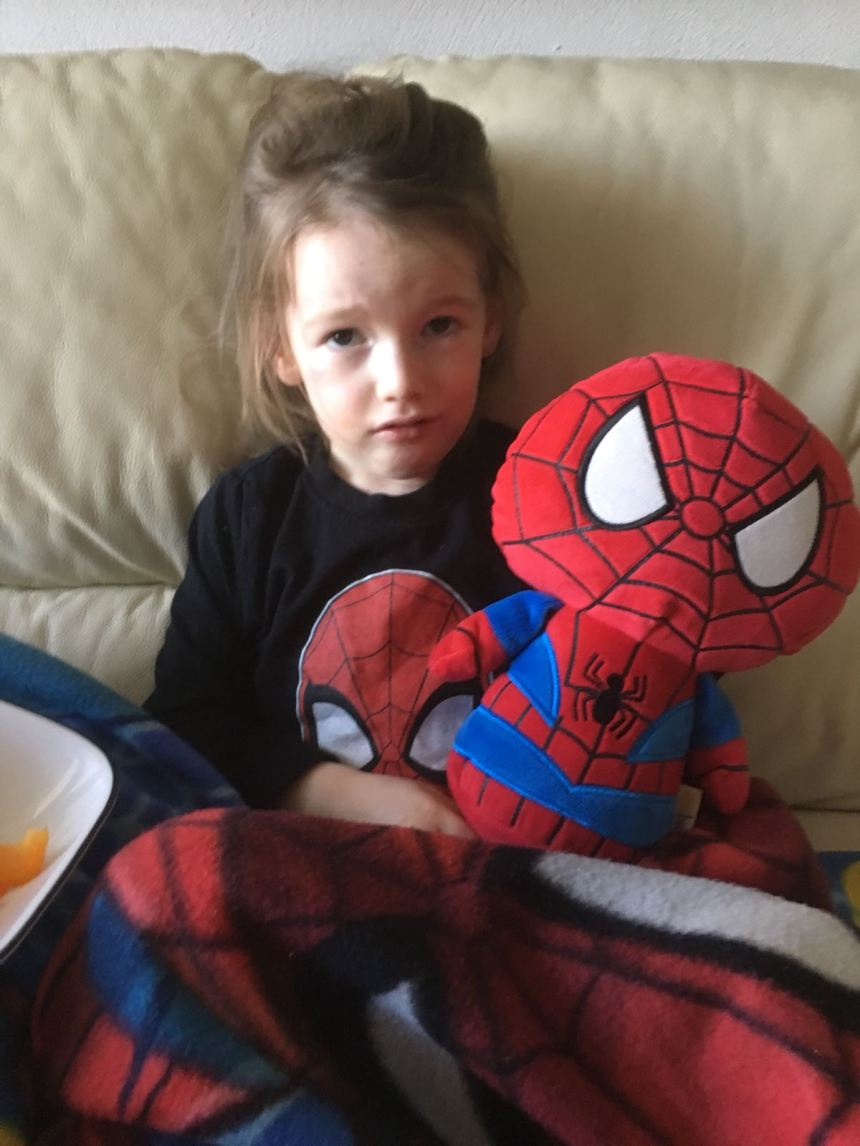 Edie with Spider-Man Plush