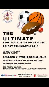 The Ultimate Football & Sports Quiz - Friday 9th March 2018